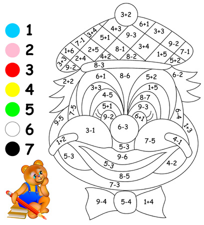 Mathematical worksheet for children on addition and subtraction. Need to solve examples and paint the image in relevant colors. Developing skills for counting.