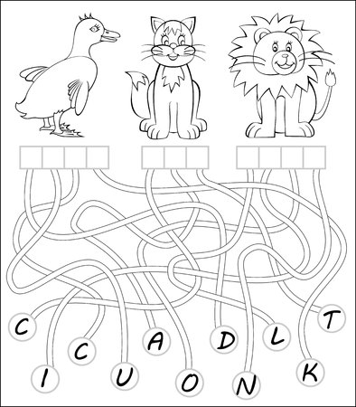 Black and white worksheet. Need to write letters in the relevant squares and paint the animals. Vector image.