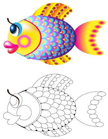 Colorful and black and white pattern of fish, cartoon image.