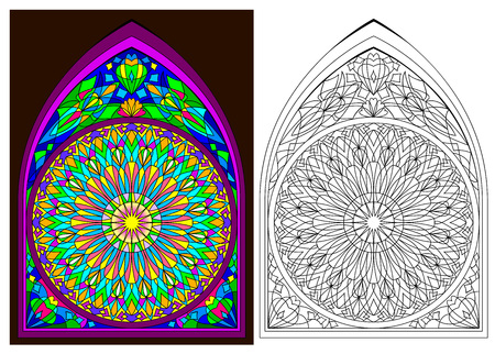Colorful and black and white pattern of Gothic stained glass with rose, cartoon image.