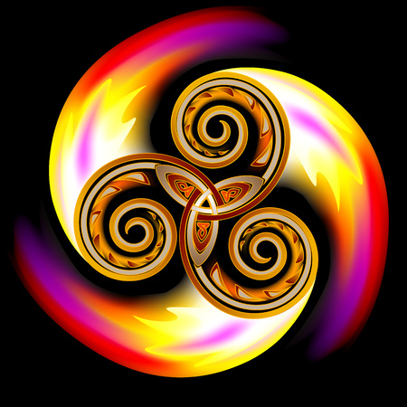 Celtic disk ornament with triple spiral symbol and flames, vector image. Illustration