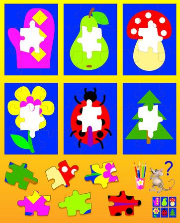 Rompecabezas de la lógica para los niños. Necesidad de encontrar los detalles apropiados y dibujarlos en lugares vacíos. Imagen de la historieta del vector. Ilustración de vector