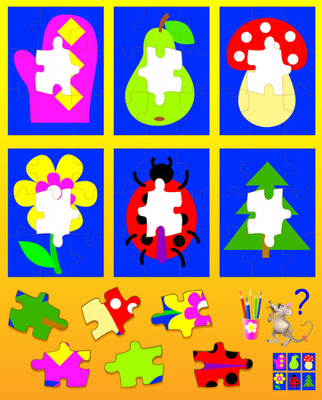 Logic puzzle for children. Need to find the appropriate details and to draw them in empty places. Vector cartoon image. Illustration