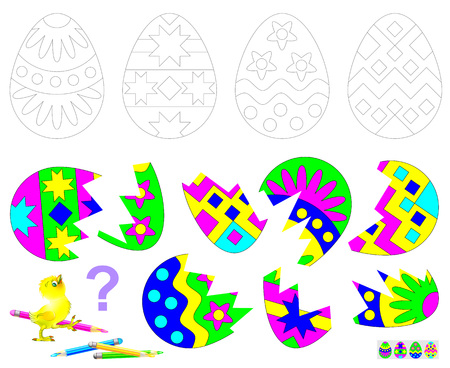 Logic puzzle game for children. Find the second of each broken egg. Paint drawings. Illustration