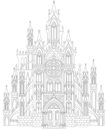 Seite Mit Schwarz-Weiß-Zeichnung Von Schönen Gotischen Mit Buntglas ...