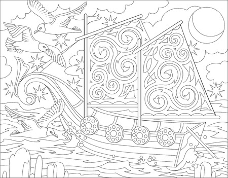 Page with black and white illustration of fantasy Celtic ship for coloring.