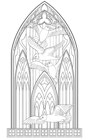 Page with black and white drawing of beautiful  Gothic with stained glass and seagulls for coloring.