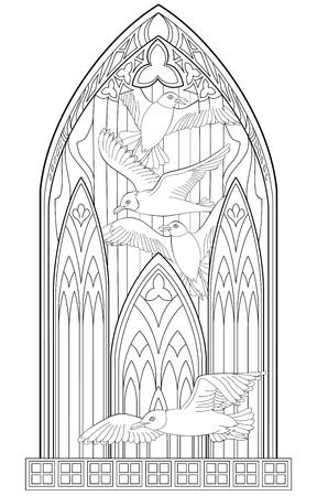 Seite mit Schwarz-Weiß-Zeichnung von schönen gotischen mit Buntglas und Möwen zum Ausmalen. Standard-Bild - 85870906