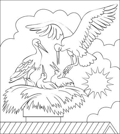 Page with black and white illustration of stork family in the nest for coloring. Worksheet for children and adults. Vector image. Illustration