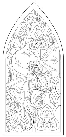 Page with black and white drawing of beautiful medieval Gothic window with stained glass and dragon for coloring. Worksheet for children and adults. Vector image.