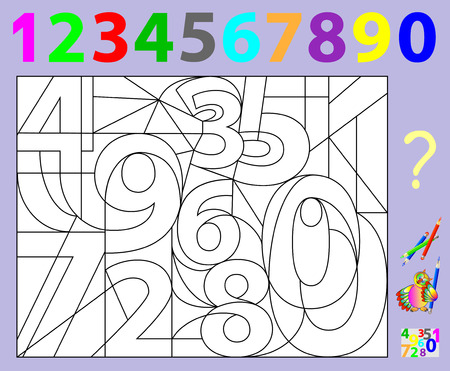 Educational page for young children. Need to find the hidden numbers and paint them in relevant colors. Illustration
