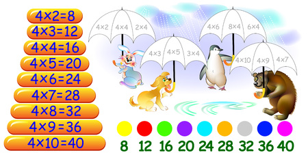 Exercise for children with multiplication by four
