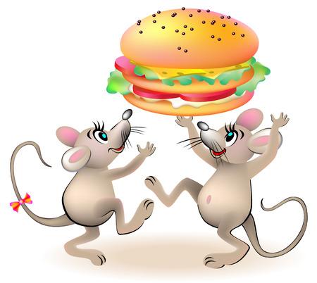 Illustration of two mice dancing around the hamburger.