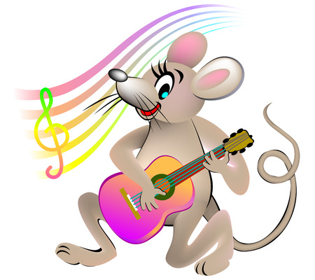 Illustration of mouse playing a guitar.