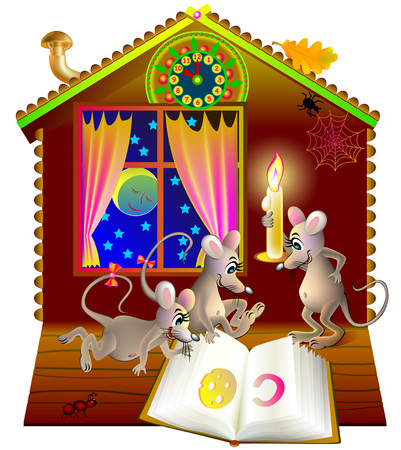 Illustration of a little funny mice reading the book at night.
