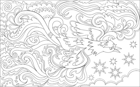 Black and white page for coloring. Magic flying bird.