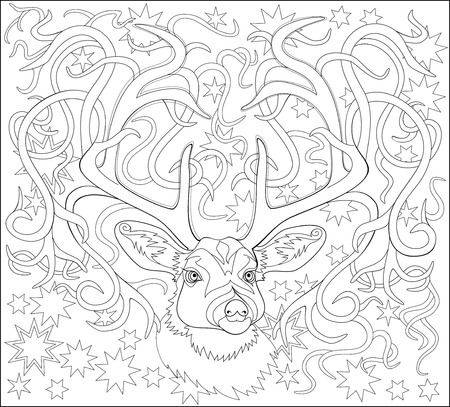 Black and white page for coloring. Fantasy drawing of deer. Ilustracja