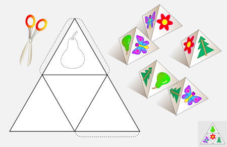Logic puzzle. Draw the relevant images on the pattern, color and make by pyramid (as shown on the samples). Illustration