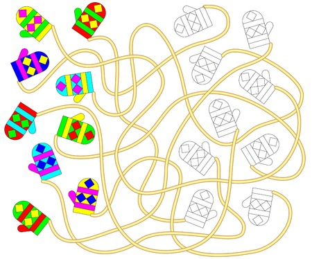 Logic exercise for children. Need to find the pair for each mitten and paint it in relevant ornament.