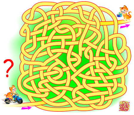 Logic puzzle game with labyrinth for children and adults. Help the cat find the way from start till end. Illustration