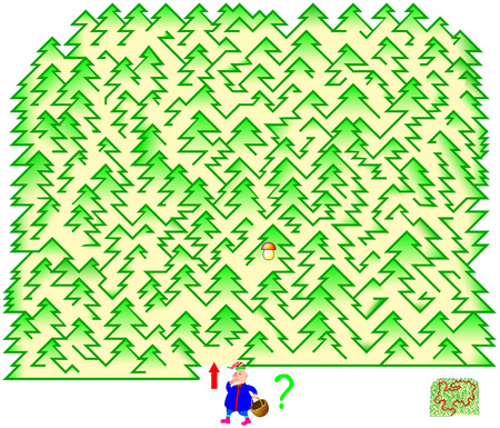 Logic puzzle game with labyrinth for children and adults. Need to draw the way in the forest from start till mushroom. Illustration