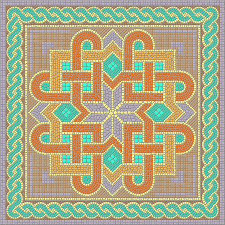 Ornament of the mosaic floor in the classical Byzantine style.