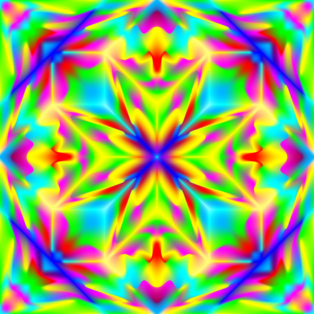 Fantasy ornament for colorful background done in kaleidoscopic style with seamless pattern.