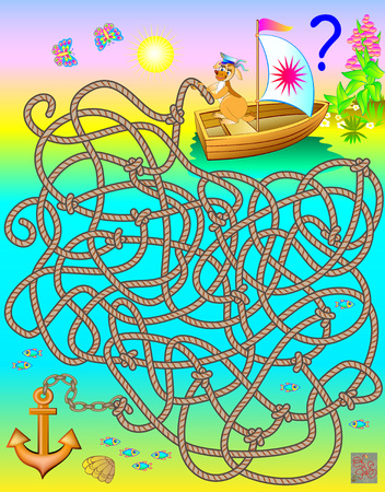 Logic puzzle game with labyrinth. Which rope connects to the anchor?