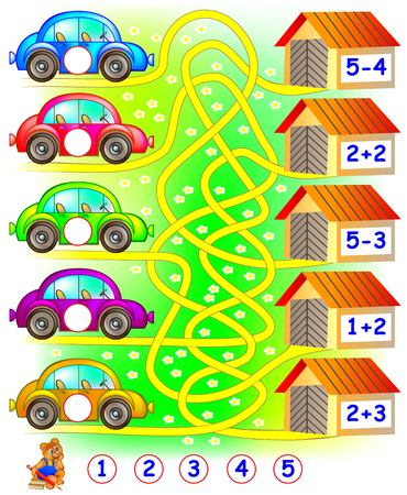子供のための練習。それぞれの車のガレージを検索し、関連する円の数字を書き込む必要があります。