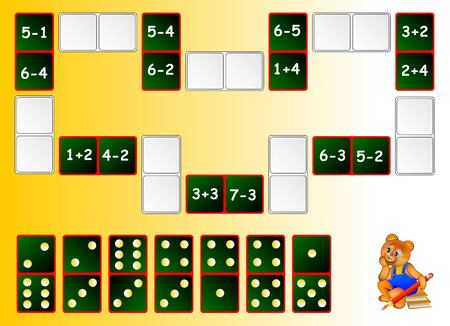 Mathematical exercises for children. Need to solve examples and draw the remaining dominoes at the correct places. Illustration