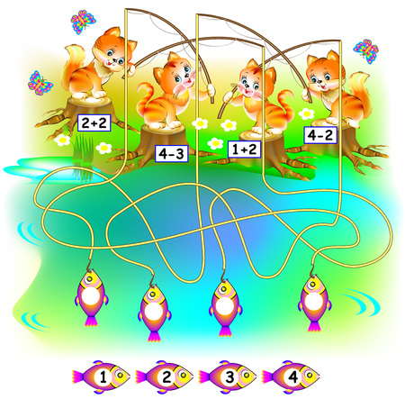 Exercises for children. Need to find the fish for each kitten and to write the numbers in the relevant circles.