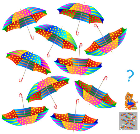 Logic puzzle game. Find two identical umbrellas. Zdjęcie Seryjne - 88548221
