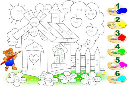 Wiskundig werkblad voor kinderen over optellen en aftrekken. Noodzaak om voorbeelden op te lossen en de afbeelding in relevante kleuren te schilderen. Stock Illustratie