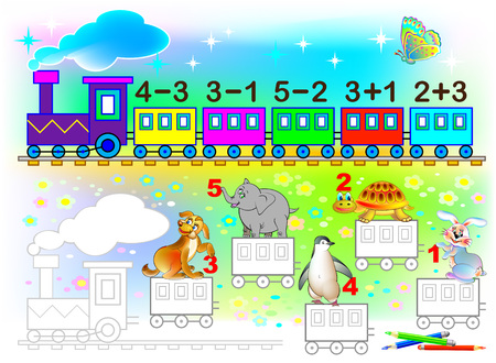 Mathematical worksheet for young children on addition and subtraction. Need to solve examples and paint the train. Wagons in relevant colors.