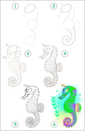Page shows how to learn step by step to draw a seahorse. Illustration