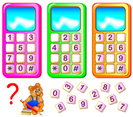 Worksheet for young children. Help the bear to repair mobile phones. Find the missing numbers and write them on the correct places. Logic puzzle game.