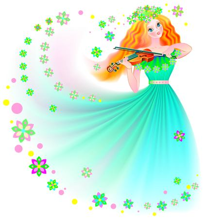 Illustration of beautiful fairy playing the violin, vector cartoon image.