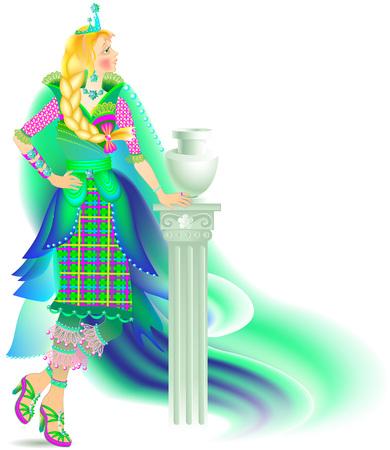 Illustration of beautiful women in fashionable carnival costume, vector cartoon image. Illustration