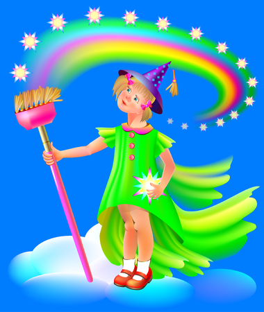 Illustration of small fairy holding broom, vector cartoon image. Illustration