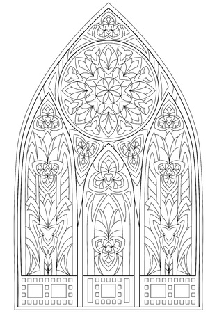 Page with black and white drawing of beautiful medieval Gothic window with stained glass and rose  for coloring. Worksheet for children and adults. Çizim