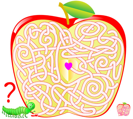 Logic puzzle game with labyrinth for children and adults. Help the caterpillar find the way to the center of the apple. Vector image.