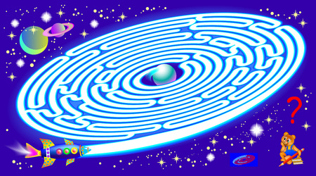 Logic puzzle game with labyrinth for children and adults. Need to find the way from start till planet. Vector image. Ilustração