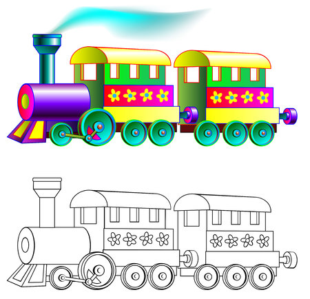 Colorful and black and white pattern train, vector cartoon image for children . Stock Illustratie