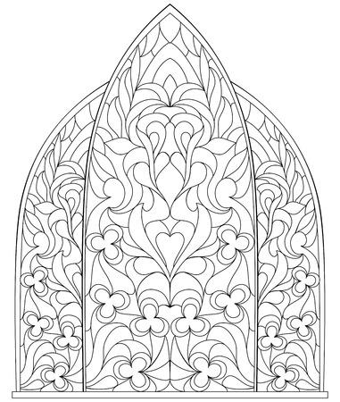 어린이 및 성인을위한 채색 용 흑백 페이지. 중세 스타일에서 스테인드 글라스와 고딕 창입니다.