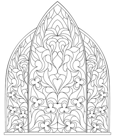 Black and white page for coloring for children and adults. Gothic window with stained glass in medieval style.