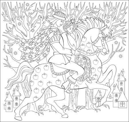 Black and white illustration of prince and princes riding on horse for coloring. Worksheet for children and adults.