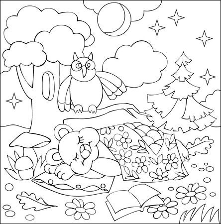 Black and white worksheet for coloring. Illustration of fairy sleeping teddy bear.