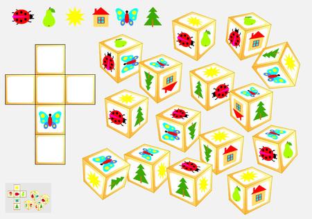 Logic puzzle game Vector cartoon image. Vettoriali