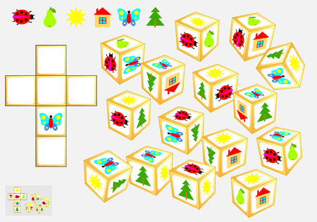 Logic puzzle game Vector cartoon image. Vectores