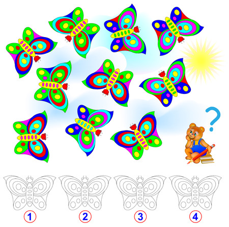 Logic puzzle. Count the number of identical butterflies. Paint them in corresponding colors.